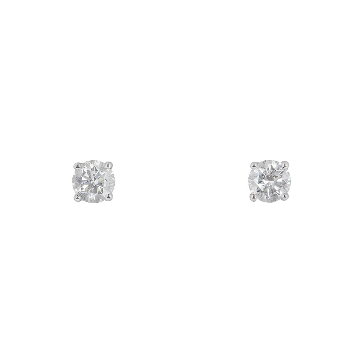 White Gold Diamond Stud Earrings 0.90ct TDW